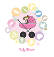 Baby girl baptism invitation card vector image vector image