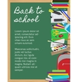 Background with school supplies on chalkboard vector image vector image