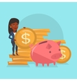 Business woman putting coin in piggy bank vector image vector image