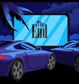 cartoon color car cinema scene concept vector image vector image