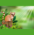 cartoon of lemur sitting on tree stump with green vector image vector image