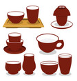 chinese tea utensils set isolated set on vector image vector image