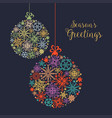 christmas card colorful snowflake balls ornaments vector image vector image