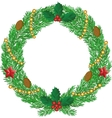 Christmas wreath with cones vector image vector image