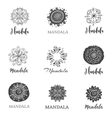 collection of hand drawn mandalas symbols vector image vector image