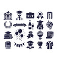 college silhouettes icons graduate day student vector image vector image