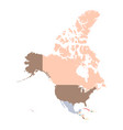 color map of north america continent vector image