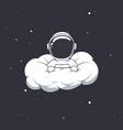 cute astronaut hiding in cloud vector image vector image