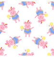 cute pig in a costume and with a tambourine funny vector image vector image