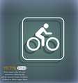 Cyclist icon On the blue-green abstract background