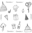 Doodle art birthday with hand draw vector image vector image