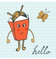 Hello card with funny character Chinese food box vector image