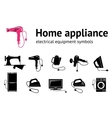 Home electrical appliance icon set Hairdryer iron vector image