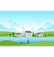 housing estate with windmills by the river vector image