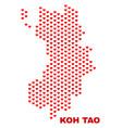 koh tao map - mosaic of valentine hearts vector image vector image