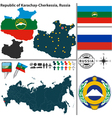 Map of Republic of Karachay Cherkessia vector image vector image