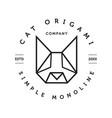 monoline cat origami face logo vector image vector image