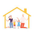 mother father and their kids at home house frame vector image