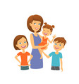 mother with kids happy family mom with children vector image vector image