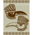 Native American raven mask with pattern stencil vector image