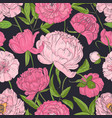 natural seamless pattern with blooming pink vector image vector image