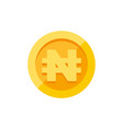 nigerian naira currency symbol on gold coin flat vector image vector image