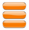 oval orange 3d buttons with chrome frame oval vector image vector image