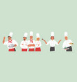 people in chef uniform showing different hand vector image