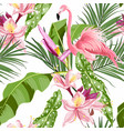 pink flamingo and exotic flowers palm leaves vector image vector image