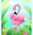 pink flamingo in green nature cartoon for kids vector image vector image