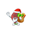santa liver cartoon character design with sacks vector image vector image