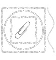 set borders made metal paperclips vector image vector image