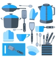 Set Isolated kitchen tools frying pan kettle vector image vector image