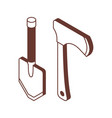 shovel and hatchet isometric icons vector image vector image