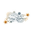 stylish hand written doodle style merry christmas vector image