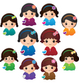 Various Girl Characters vector image vector image