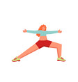 warrior 2 yoga pose flat style design vector image