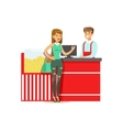 Woman Buying Popcorn From Cinema Seller Part Of vector image vector image