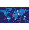 World map airplane flights vector image vector image