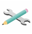 Wrench and pencil isometric 3d icon vector image vector image