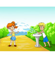 kids play with water in summer day vector image