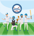 baseball professional team with uniform in the vector image vector image