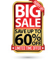 big sale save up to 60 off golden label with red vector image