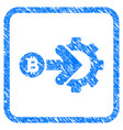 bitcoin integration gear framed stamp vector image vector image
