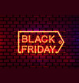 black friday sale signboard neon banner shopping vector image