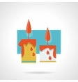 Burning wax candles flat color icon vector image vector image