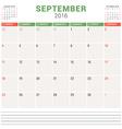 Calendar Planner 2016 Flat Design Template vector image vector image