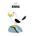 card with cute seagull vector image vector image