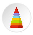 colorful toy pyramid icon circle vector image vector image
