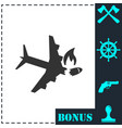 crash plane icon flat vector image vector image